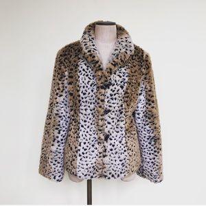 Jackets & Blazers - Vintage Faux Fur Leopard Print Coat M